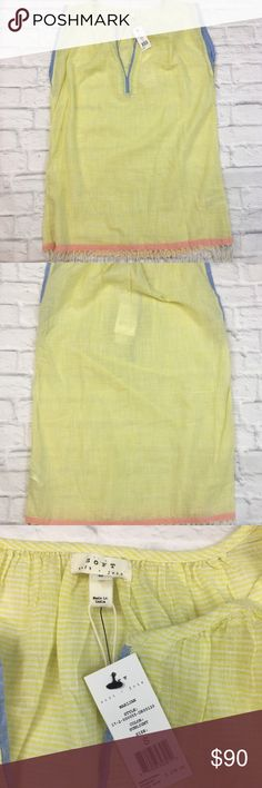 Joie Marijan Cotton Yellow Above Knee Shift Dress NEW $178 Soft Joie Women's Small Marijan Cotton Yellow Above Knee Shift Dress  Additional Details: Slim chambray trim highlights the laid-back split neckline and airy extended cap sleeves. Slips on over head Split neck Cap sleeves Lightweight  Fabric Composition: 100% Cotton Joie Dresses