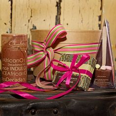 The Chocolate Tier Hot Chocolate hamper - Silver Ribbon Gifts Hot Chocolate Hamper, Gift Wrapping, Desk, Coffee, Gifts, Gift Wrapping Paper, Kaffee, Desktop, Presents