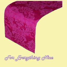 Fuchsia Pink Damask Flocking Taffeta Wedding Table Runners Decorations x 25 For Hire by JRMB7339 - $150.00