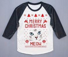 Meow shirt Cat TShirt Merry Christmas TShirt Funny by teeseason, $18.00