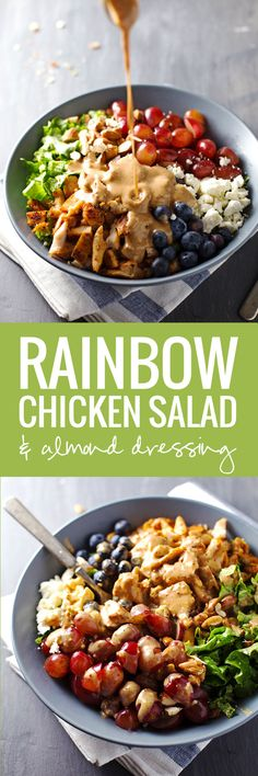 Rainbow Chicken Salad with Almond Honey Mustard Dressing - freshly addicting.