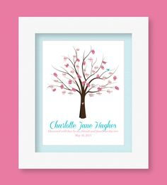 Personalized Baby Guestbook Tree Printable - for Baby Blessings. Baptisms and Showers