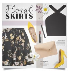 """""""💛Floral skirt💛"""" by abbypskate ❤ liked on Polyvore featuring Miss Selfridge, BCBGMAXAZRIA, Henri Bendel, Trish McEvoy and Floralskirts"""
