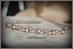 Light Champagne Brown Swarovski Pearl Headband by Like2Accessorize