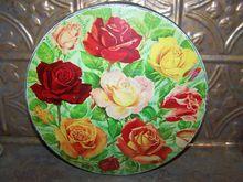 Vintage Rose  Floral Colorful Biscuit  Cookie Tin Peek Frean