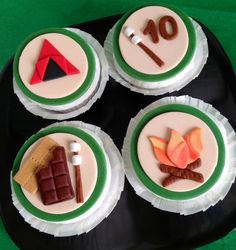 Camping Themed Cupcake Toppers. $18.00, via Etsy.
