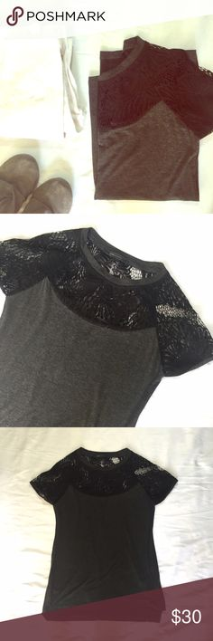 """BCBG // Lace Inset Tunic Top Only worn once! Soft gray tunic tee with black lace inset around collar and shoulders. Approx 25.5"""" in length at front, 28"""" in length at back, 16.5"""" across chest. No holes or stains. 🚫trades🚫 smoke free home BCBGMaxAzria Tops Tees - Short Sleeve"""