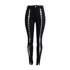 Lace Up High Waist Black Pants (€33) ❤ liked on Polyvore featuring pants, bottoms, jeans, trousers, black, zipper pants, high waist pants, skinny trousers, skinny pants and high rise pants