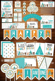 Printable Wild One Tribal Woodland Birthday Party Package | DIY Party Decor | Boys Modern 1st Birthday Invitation | Tee Pee | Bear  Fox | Deer | Raccoon | Cupcake Topper | Banner | Signs | Favor Tag | Candy Bar Wrapper | High Chair Banner | Food Labels and more!