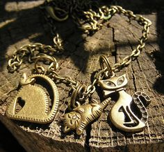 3 in 1  Cat Jewelry Charm Necklace Bronze by donnaelizabethdesign, $14.99