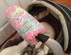 Carseat handle cover made with Lilly Pulitzer Fabric by wamozart12, $15.00