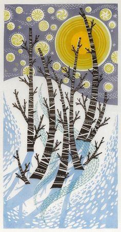 Angie Lewin - Snow Birches - linocut