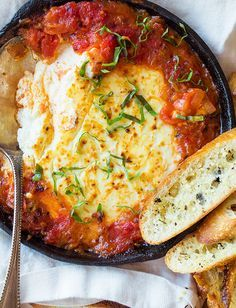 Baked Goat Cheese and Marinara with Crostini