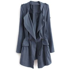 Thin Lapel Self-tied Elastic Blue Suede Trench Coat ($35) ❤ liked on Polyvore featuring outerwear, coats, jackets, romwe, suede leather coat, lapel coat, suede coat, long sleeve coat and thin trench coat