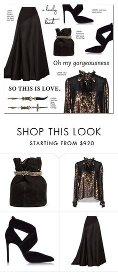 """""""OH MY GORGEOUSNESS"""" by larissa-takahassi ❤ liked on Polyvore featuring Lanvin, gorgeous, bow, maxiskirt and necktieblouse"""