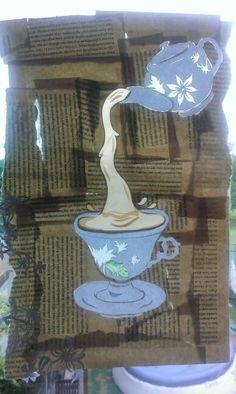 Tea illustration. Old books, cellotape, papercut collage
