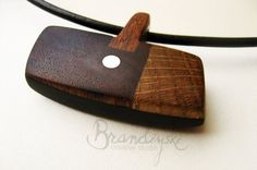 WOODEN JEWELRY - Original Handmade Wooden Necklace - black ebony, rose wood, oak, mahagony  elements, 3mm leather cord