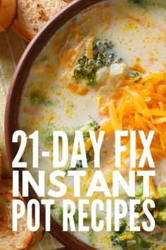 10 21 day fix instant pot recipes from easy chicken, pork, and beef-based m 21 Day Fix Diet, 21 Day Fix Meal Plan, Vegan Crockpot Recipes, Healthy Soup Recipes, Instapot Vegetarian Recipes, Healthy Meals, Beef Recipes, 21 Day Fix Vegetarian, Vegan 21 Day Fix