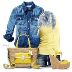 """Daffodils and Denim"" by rockreborn on Polyvore"