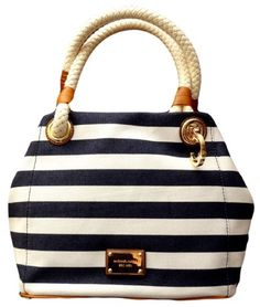 #sale Michael Kors Marina MD Grab Bag Navy White Stripes Canvas