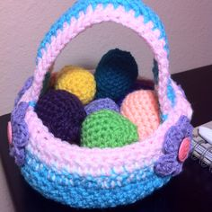 My newly crocheted Easter basket. Easter's coming up soon!