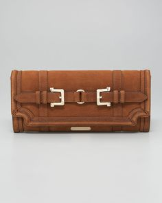 Chestnut Suede Clutch by Burberry