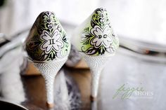 Green and white hand painted wedding shoes (by Figgie Shoes)