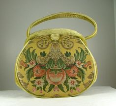 NETTIE ROSENSTEIN Cut Velvet and Tapestry Handbag by KatsCache, $399.95