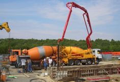 A concrete pump is a machine used for transferring liquid concrete by pumping. There are two types of concrete pumps.