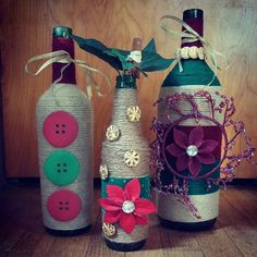 Decorative holiday bottle set by BrookiesBottles on Etsy