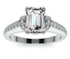 Emerald Ribbon Diamond Engagement Ring with Surprise Diamonds in Platinum http://www.brilliance.com/engagement-rings/ribbon-surprise-diamond-ring-platinum