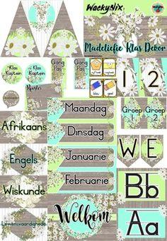 WackyNix Madeliefie Klas Dekor by WackyNix   Teachers Pay Teachers Afrikaans, Teacher Newsletter, Presentation, Teaching, Education, Onderwijs, Learning, Tutorials