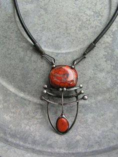 Advisor Necklace of beads red jasper round black leather with handmade clasp patinaed polished silver /  Želmíra