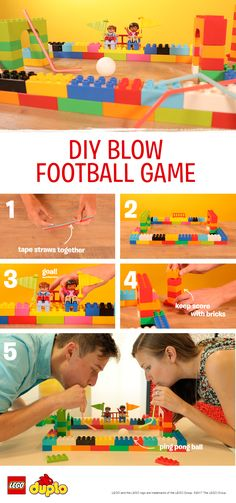 This is the perfect boredom busting indoor activity for any future footballer. You'll need LEGO DUPO bricks, drinking straws, tape, and a ping pong ball. Help your child build a simple stadium and two goals using the bricks. Decorate with flags and keen supporters if you have them! Then encourage your child to blow the ball through their goal while you play goalie. Toddlers can use the straws to push the ball through the goals if they find it easier. Keep score using a stack of bricks!