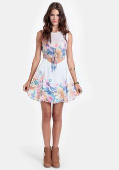 sheer ivory dress with front cutout and tie, pastel floral watercolor design (would look good with purple cardigan)