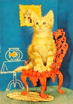 Chaton dans un décor. Grinch, Tweety, Fictional Characters, Vintage, Wild Animals, Dog, Cards, Vintage Comics, Primitive