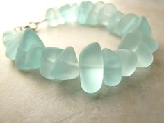 Seaglass Sea Glass Bracelet Aqua by BellinaCreations on Etsy