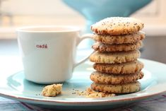 Sitronkjeks med valmuefrø Biscotti, Tableware, Kitchen, Recipes, Food, Sweet Stuff, Corner, Christmas, Juice