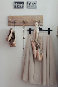 vintage pointe shoes and ballet skirt
