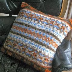 Lake House Pillow | AllFreeKnitting.com intermediate, but supposedly a simplified fair isle, or at least shorter