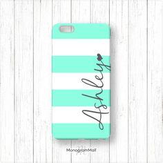 Personalized iPhone 6 case, 6+, 5, 5s, 5c, 4, 4s, Galaxy, s5, s4, s3, 3d, case, stripes, aqua, turquoise, monogram, monogrammed, custom