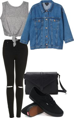 Ashley Inspired Fall Concert Outfit Crop top / Monki jean jacket / Topshop bla - The Effective Pictures We Offer You About Concert Outfit skirt A quality Outfits With Vans, Black Vans Outfit, Pll Outfits, Edgy Outfits, Cute Outfits, Fashion Outfits, Womens Fashion, Concert Outfit Fall, Concert Ootd