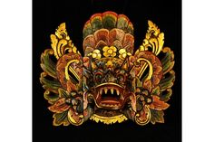 Small Barong Ket Indonesian Mask, Black by Made Lendeh | World Tribal Masks  $105.00
