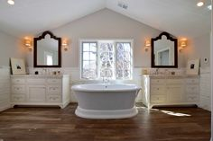 BKC Kitchen & Bath | Bathroom Remodel Portfolio | Crystal Cabinet Works | Lanesboro inset with bead door style, Frosty White paint with Van Dyke Brown brushing