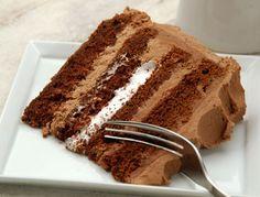 Milk Chocolate Cake with chocolate ganache and marshmallow fluff filling.  King Arthur flour recipe.