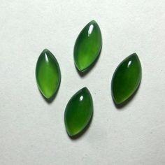 Natural Top Green Serpentine 6.7 Carat 12x6 MM Marquise Cabochons 4 Pieces Lot  #AquamarineTraders