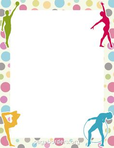 Printable gymnastics border. Use the border in Microsoft Word or other programs for creating flyers, invitations, and other printables. Free GIF, JPG, PDF, and PNG downloads at http://pageborders.org/download/gymnastics-border/