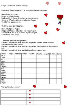 German logic puzzle for Valentine's Day - A German logic puzzle to really get you in the mood for Valentine's Day.