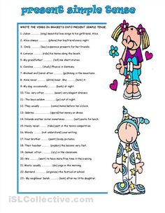 Worksheets Simple Present Tense Worksheets simple present tense worksheets english pinterest students write the verb in brackets