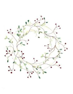 watercolor artwork berry vine wreath small floral by HammerToLace